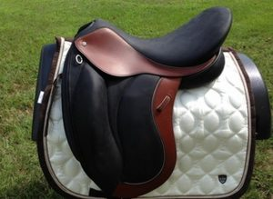 A beautiful multi-colored leather saddle.